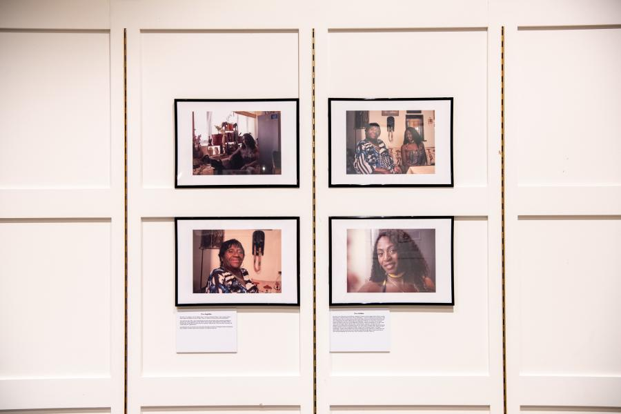 Group of four Black History Month photographs in the exhibition space