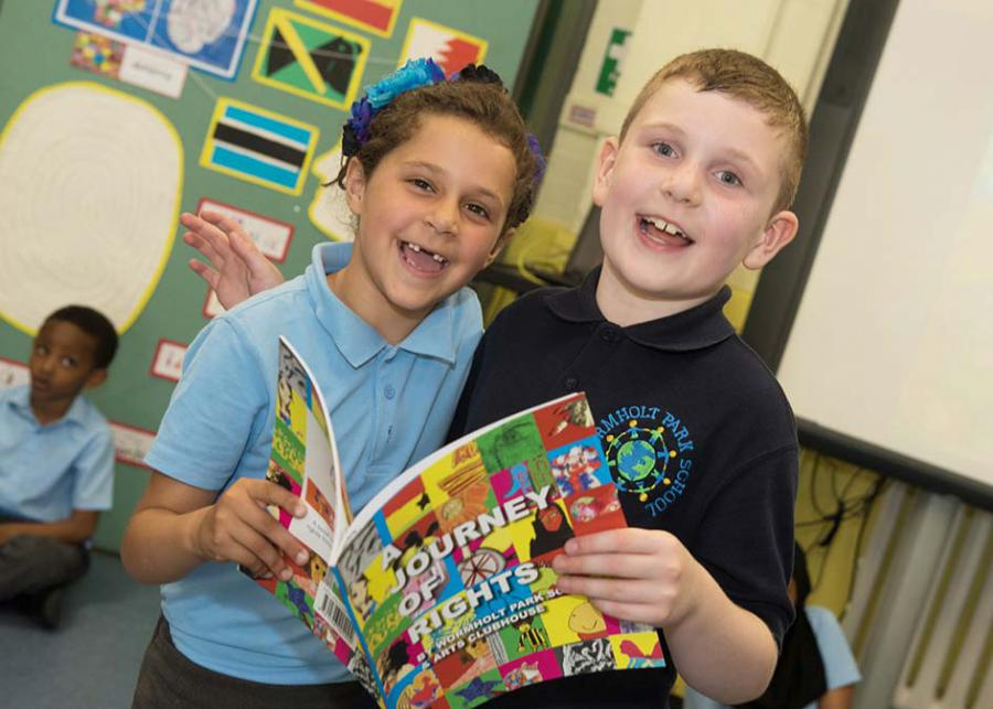 Bella and Sean enjoy the book launch at Wormholt Primary School