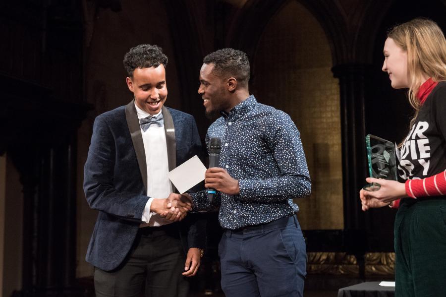 Sak Cawke (left) receives his young leader award