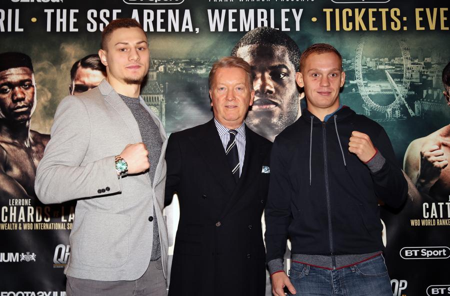 Zak Chelli, Frank Warren and Jimmy Smith press conference photo