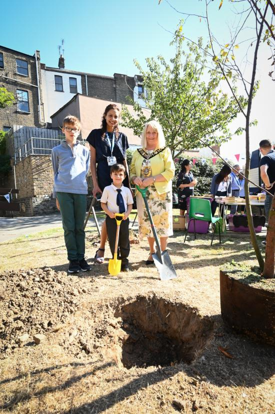 Tree-planting at the Avonmore Library Citizens Advice Bureau