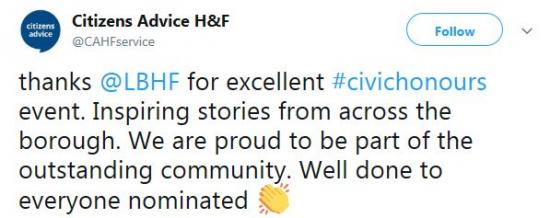 thanks @LBHF for excellent #civichonours event. Inspiring stories from across the borough. We are proud to be part of the outstanding community. Well done to everyone nominated. Citizens Advice