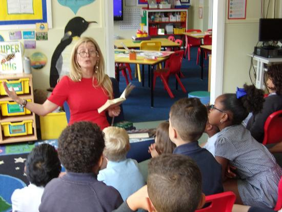 Cressida Cowell at Wormholt Park primary school