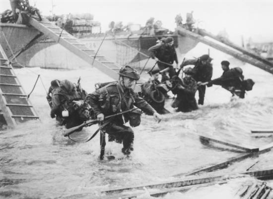 Troops from the 48th Royal Marines during the D-Day landings