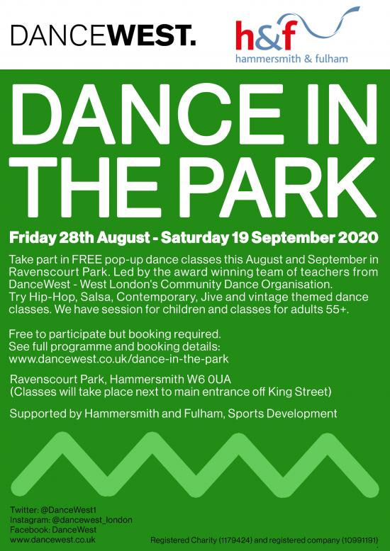 Information flyer about the Dance in the Park event