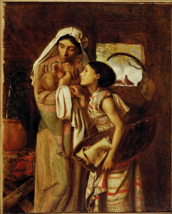 Fanny Eaton holding the baby Moses as she posed for the painting The Mother of Moses