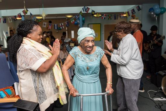 Hilda Wilson celebrates with her friends and family at her 100th birthday party