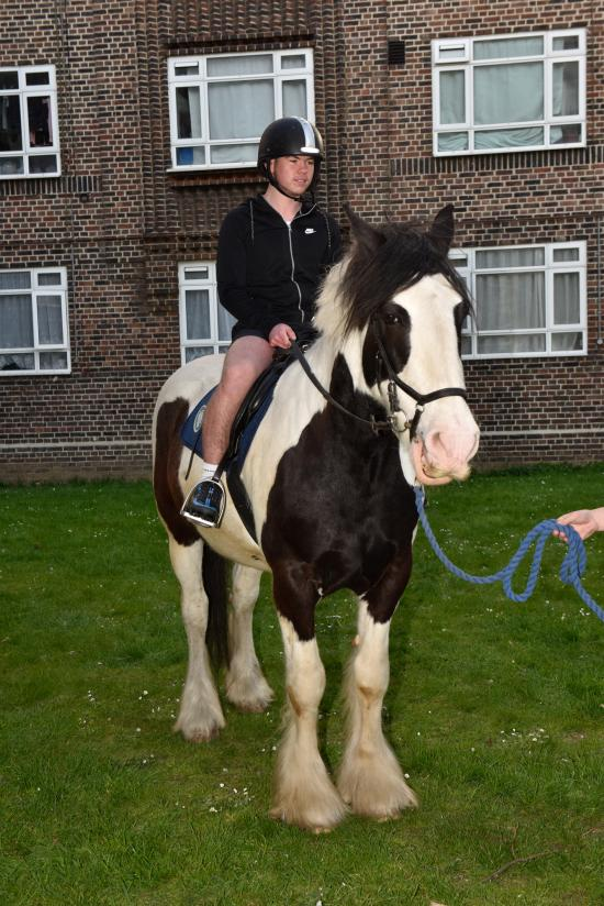 Key4Life charity horse with child rider on the White City Estate