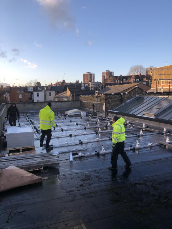 Solar panels on the roof of the Masbro Centre
