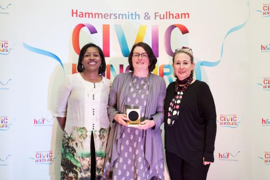 Cathy Maund, director of Hammersmith Community Gardens Association, receives her Civic Honour