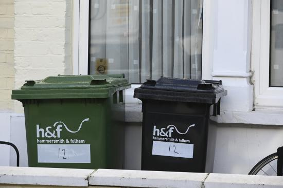 Green and black wheeled bins standing next to each other in front of a white wall and window