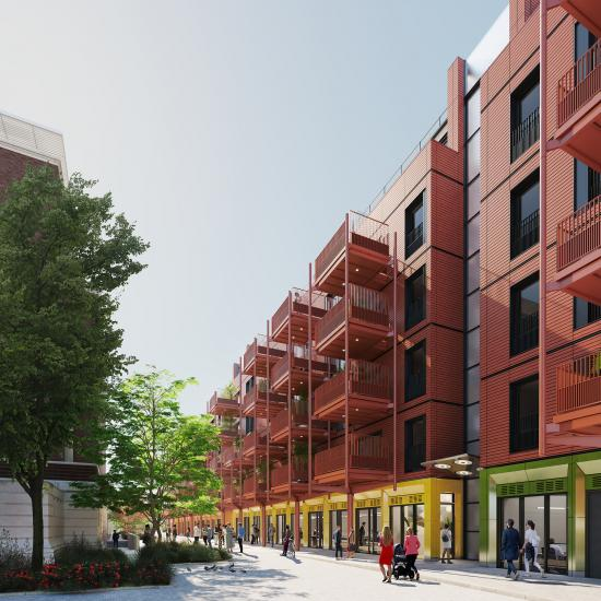 View of residential units on Nigel Playfair Avenue in Hammersmith