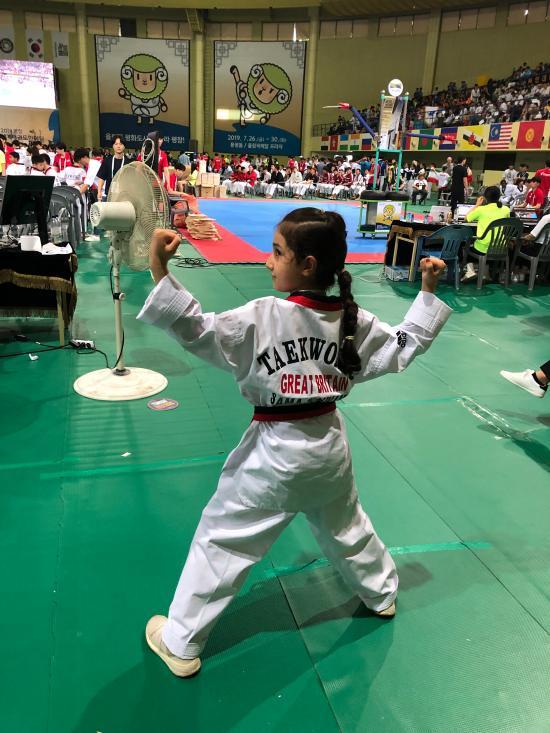 Sama Rahnama wearing her competition 'dobok'