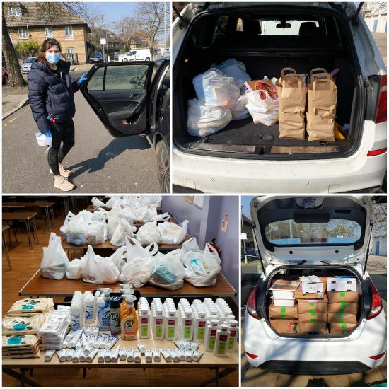 Food being delivered and distributed by the Smile Brigade in cars and vans