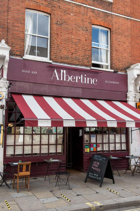 Exterior view of French wine bar the Albertine