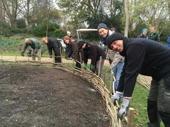 Volunteers preparing Fulham Palace planting scheme