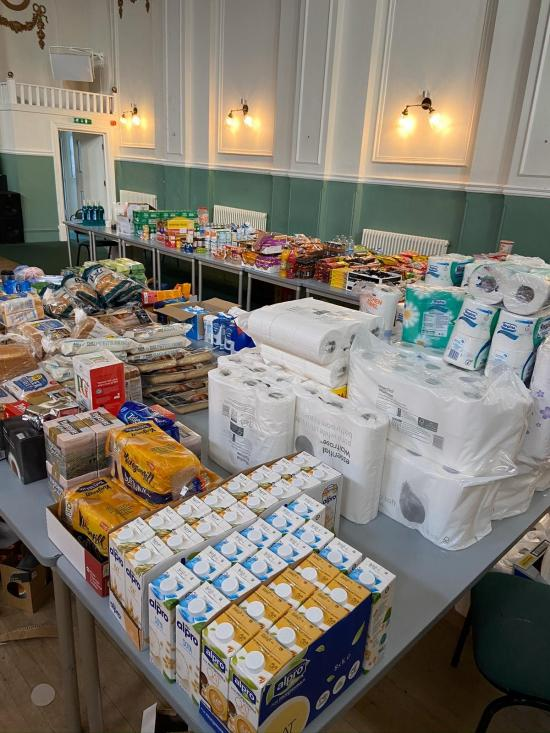 Food donations stored on tables