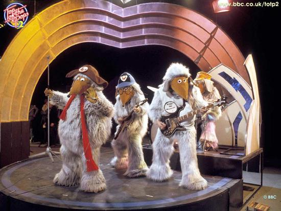 The Wombles performing on stage in a BBC TV studio for an appearance on Top of the Pops