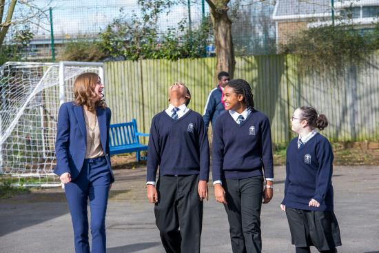 Woodlane High School pupils on the campus