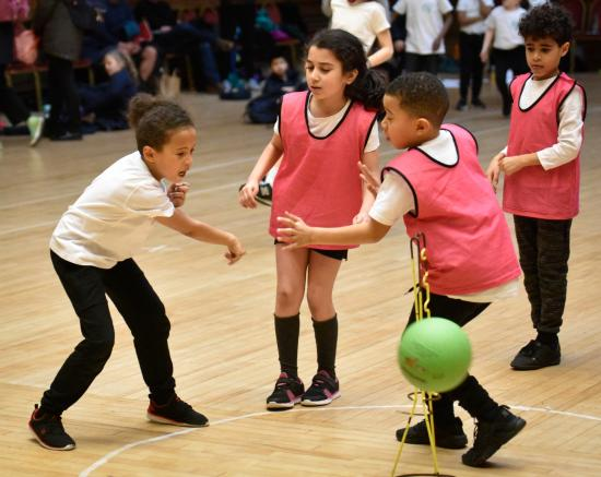 Skittleball is a mix of netball and basketball