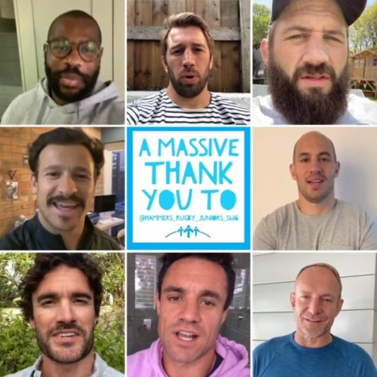 Eight sports stars faces next to the slogan: 'A massive thank you to @hammers_rugby_juniors_sw6'