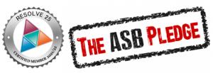 Resolve 25 member logo and The ASB Pledge logo