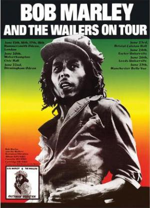 Bob Marley and the Wailers 1976 UK tour poster