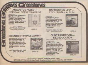Newspaper advert for Greensleeves Records