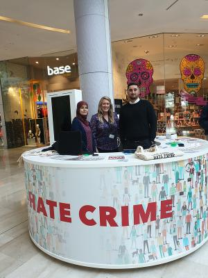 Pop-up stand in Westfield promoting national hate crime awareness week