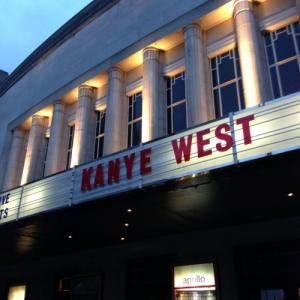 Kanye West 's name on the front of the Hammersmith Apollo