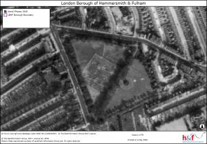 Monochrome aerial view of Lillie Road Recreation Ground showing map legends