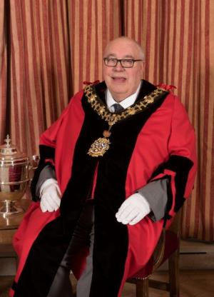 Mike Cartwright in mayoral robes