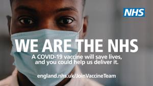 We are the NHS. A Covid-19 vaccine will save lives, and you could help us deliver it. Visit england.nhs.uk/JoinVaccineTeam