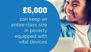 £5,000 can keep an enitre class size in poverty equipped with vital devices