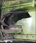 Hole in Hammersmith Bridge structure following the 1996 Provisional IRA bomb attack